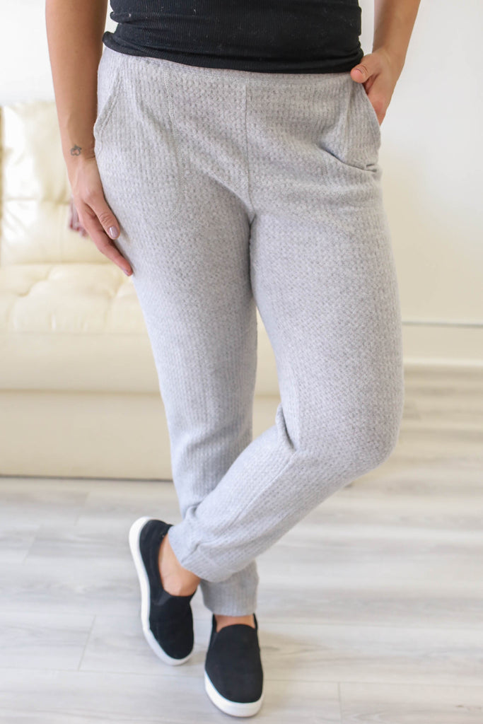 Waffle Knit Joggers - Online Clothing Boutique