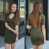 Short Sleeve Mock Neck Keyhole Bodycon Dress