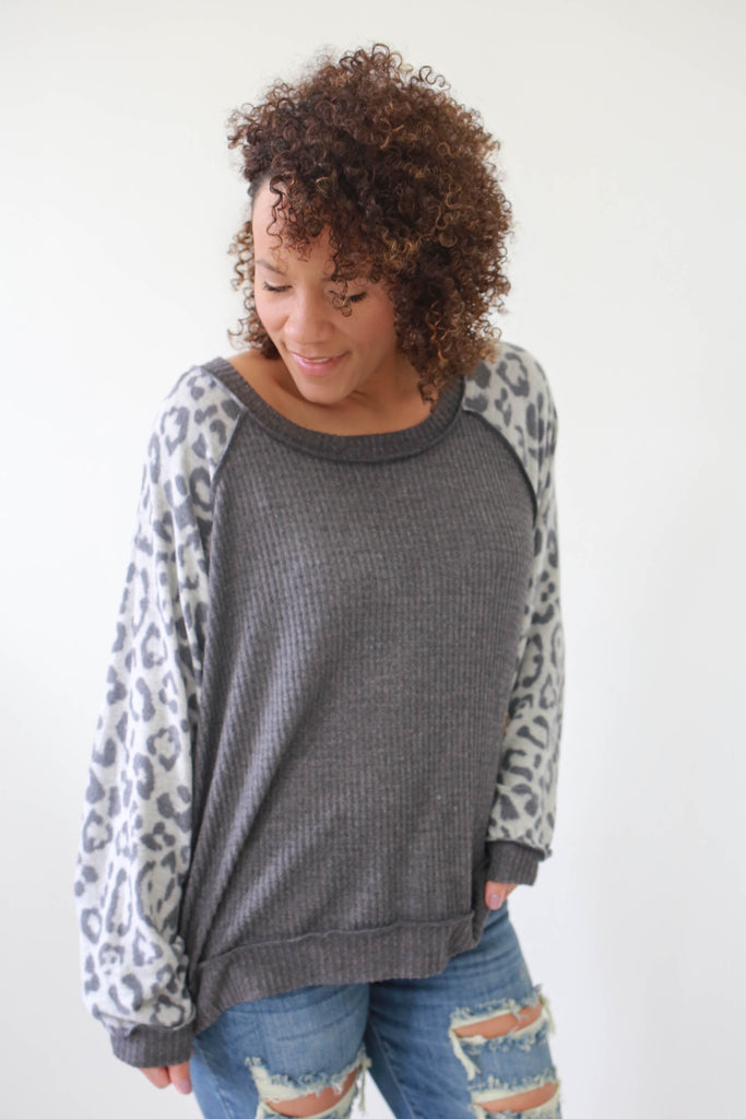Oversized Waffle Knit Top - Online Clothing Boutique