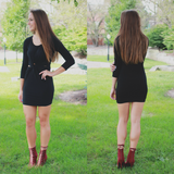 Long Sleeve Cut Out Twist Accent Bodycon Mini Dress