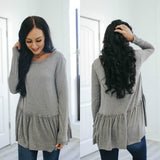 Long Sleeve Peplum Top - Online Clothing Boutique