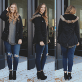Black Faux Fur Hood Drawstring Waist Coat