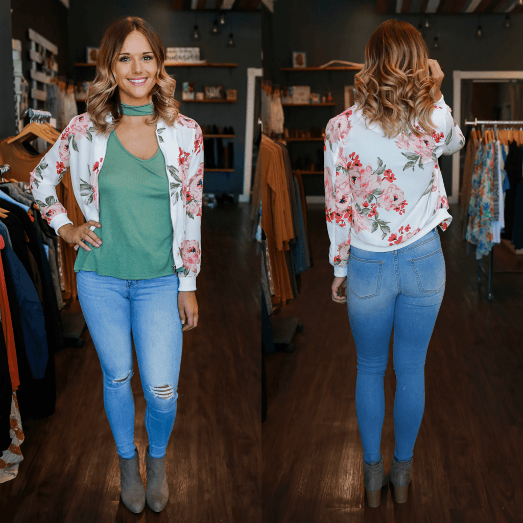 Long Sleeve Floral Print Knit Bomber Jacket
