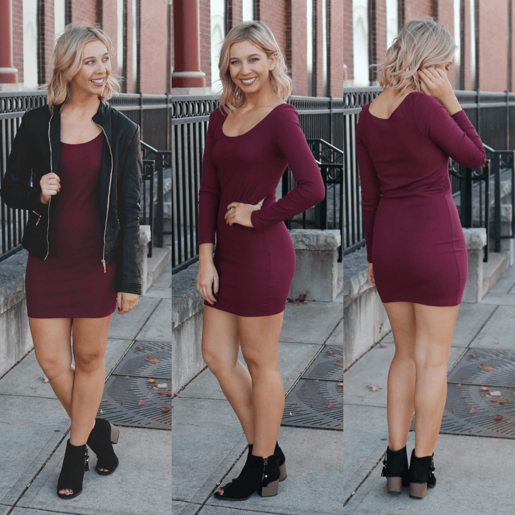 Burgundy Long Sleeve Round Neck Ribbed Bodycon Dress
