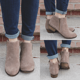 Taupe Faux Suede Almond Toe Booties Austin-12