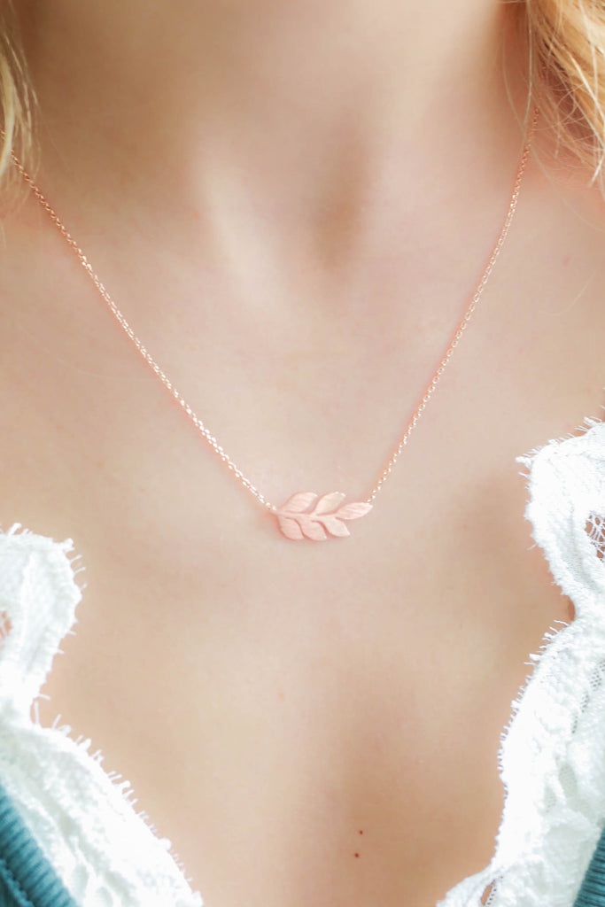 Rose Gold Leaf Necklace - Online Clothing Boutique