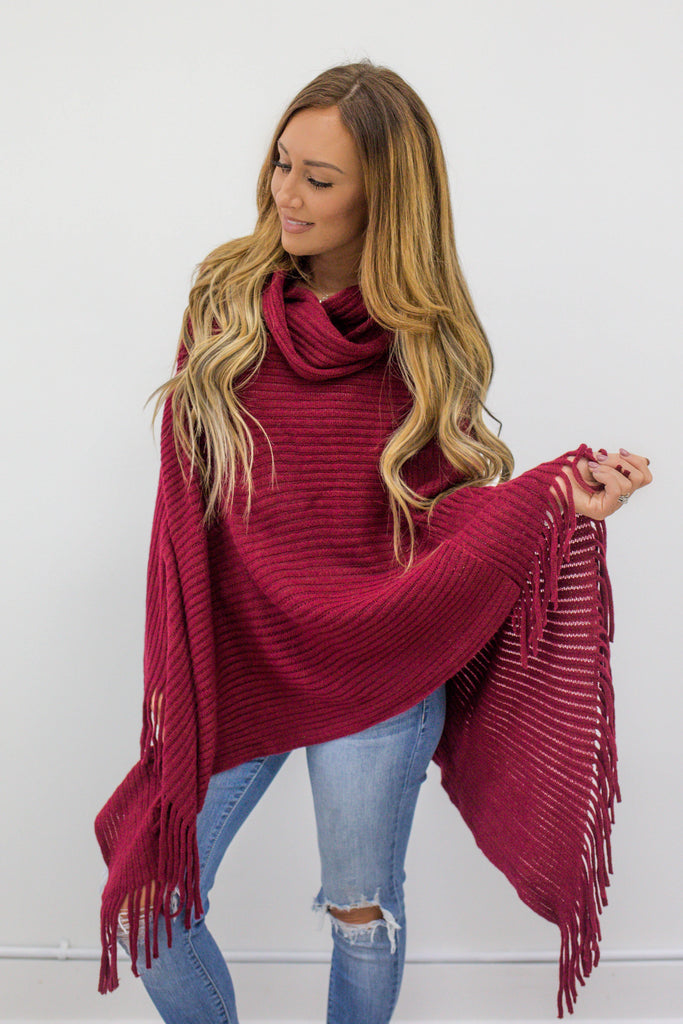Cowl Neck Knit Poncho - Online Clothing Boutique