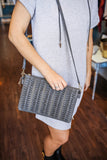 Charcoal Faux Leather Woven Stud Accent Purse