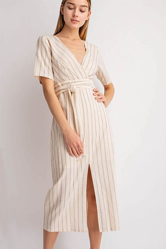 Short Sleeve Faux Wrap Midi Dress - Online Clothing Boutique