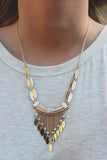 Faux Marble Oblong Disc Chain Fringe Necklace