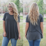 Charcoal Short Sleeve Round Neck Trapeze Top