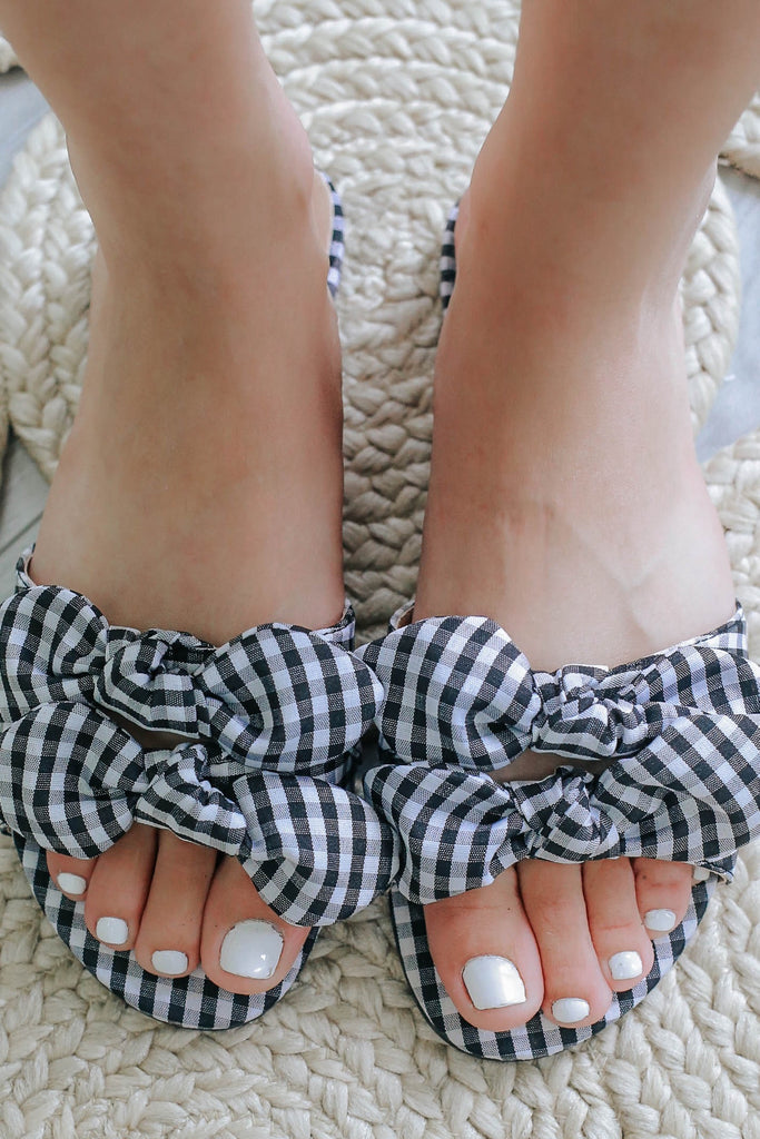 Gingham Print Bow Sandals JULIA-1 - Online Clothing Boutique