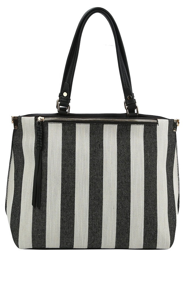 Striped Knit Bag - Online Clothing Boutique