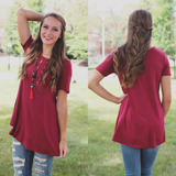 Wine Short Sleeve Round Neck Trapeze Top