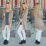 Taupe Long Sleeve Open Front Knit Cardigan