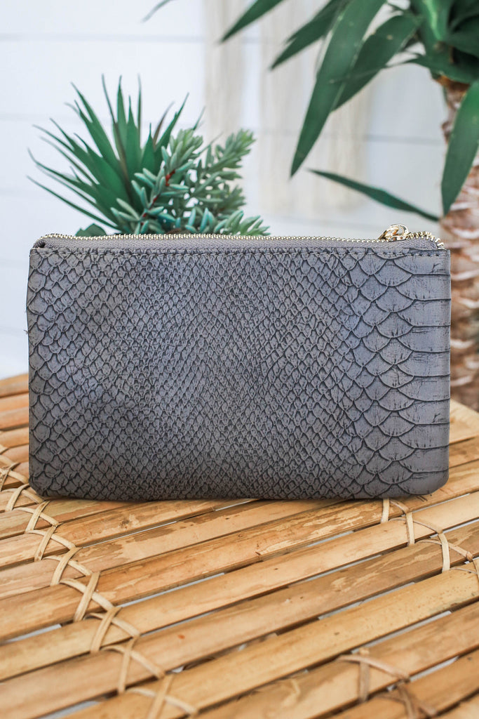 Faux Leather Snakeskin Clutch - Online Clothing Boutique