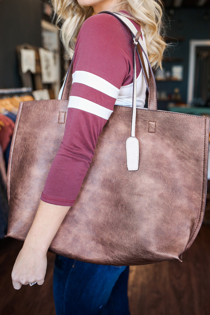 Brown Faux Leather Snap Closure Reversible Tote