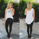 I Do Diamond Graphic Heathered Round Neck Tank