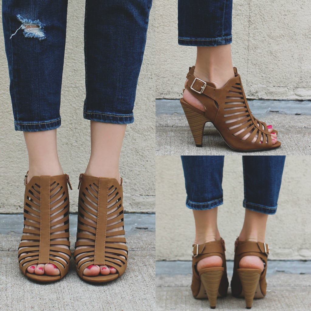 Tan Strappy Front Buckle Detail Heel