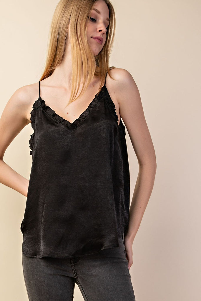 Ruffle V-Neck Tank Top - Online Clothing Boutique