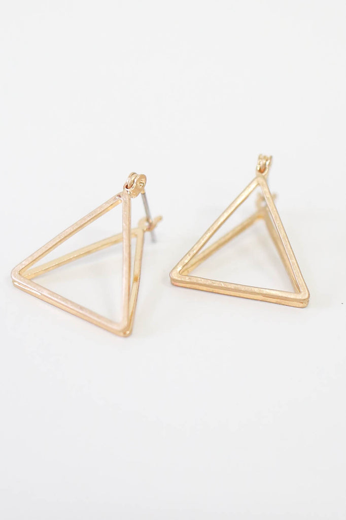 3D Triangle Earrings - Online Clothing Boutique