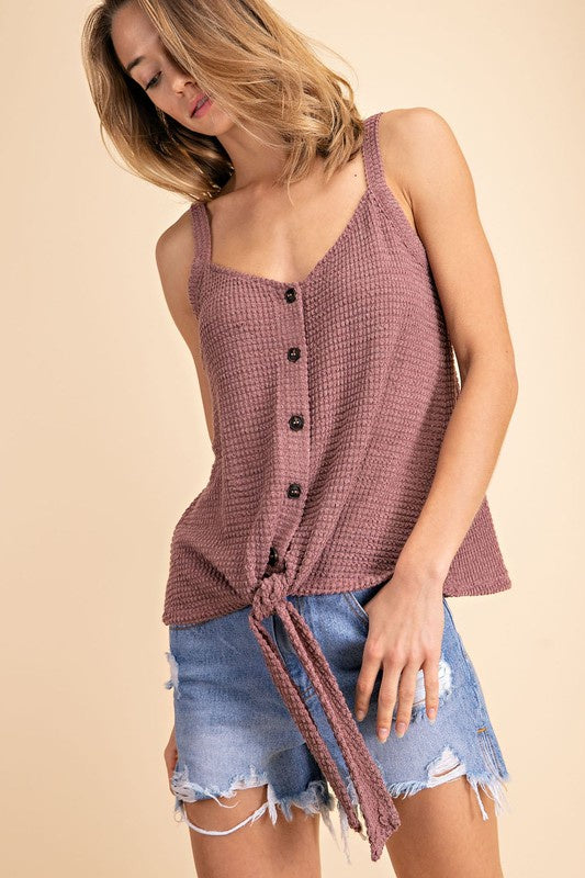 Waffle Knit Tank - Online Clothing Boutique