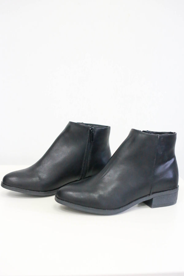 Faux Leather Ankle Booties - Online Clothing Boutique
