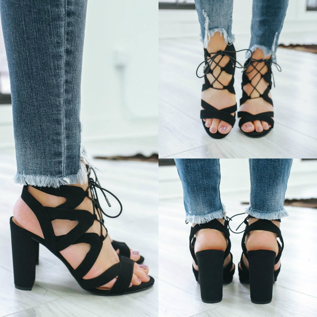 Mazie-H Open Toe Heels - Online Clothing Boutique