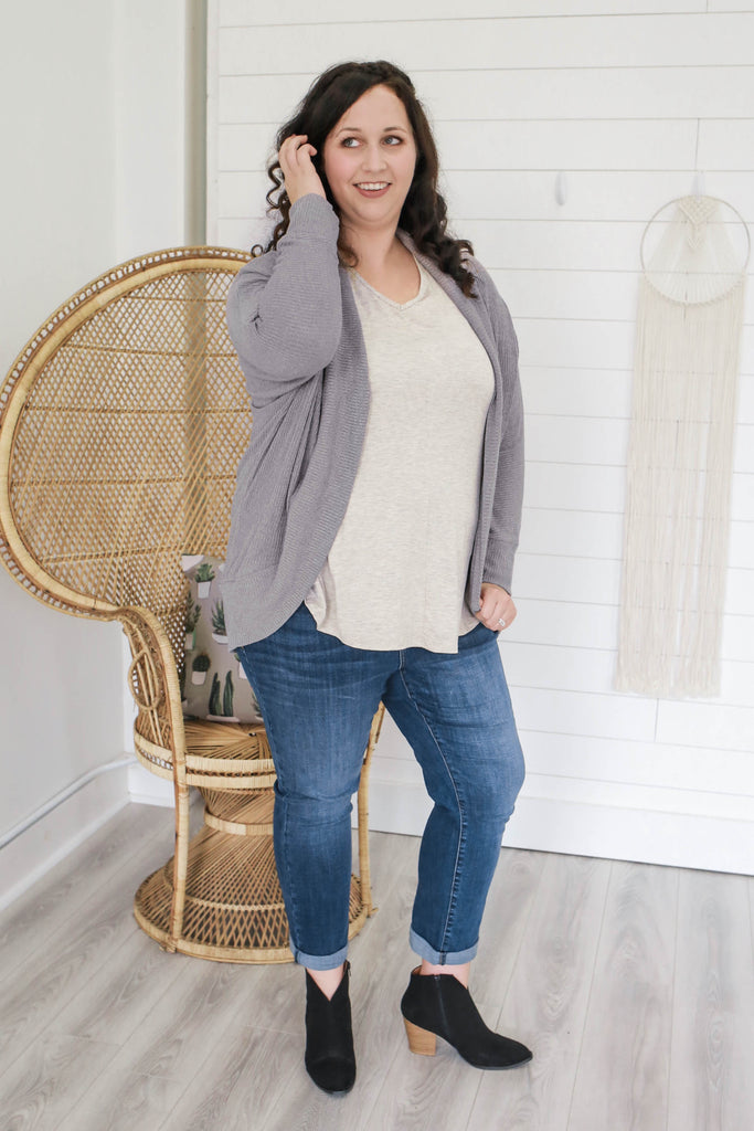 Plus Size Ribbed Knit Cardigan - Online Clothing Boutique