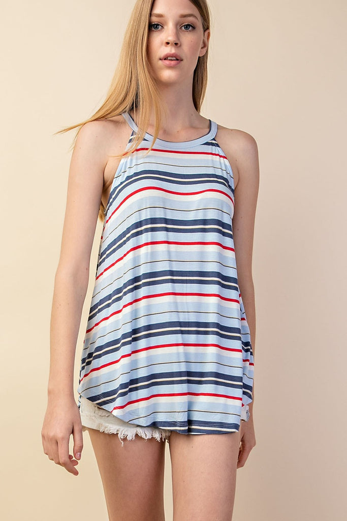 Striped Halter Tank Top - Online Clothing Boutique