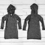Girls Long Sleeve Heathered Side Slits Hooded Tunic