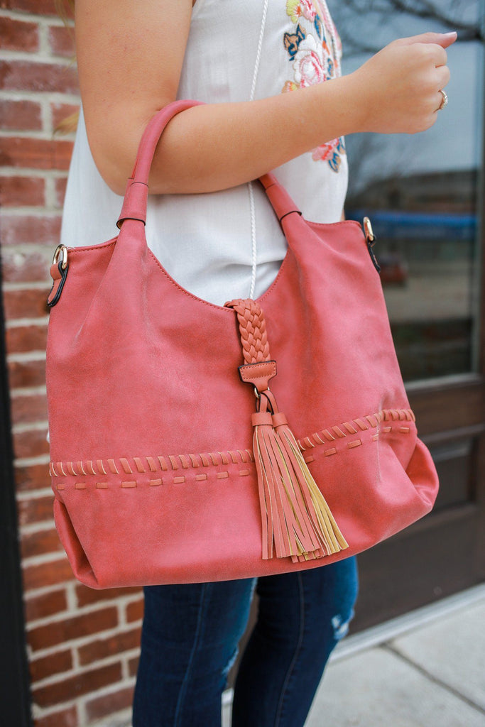 Paprika Distressed Faux Leather Dual Strap Crossbody Bag