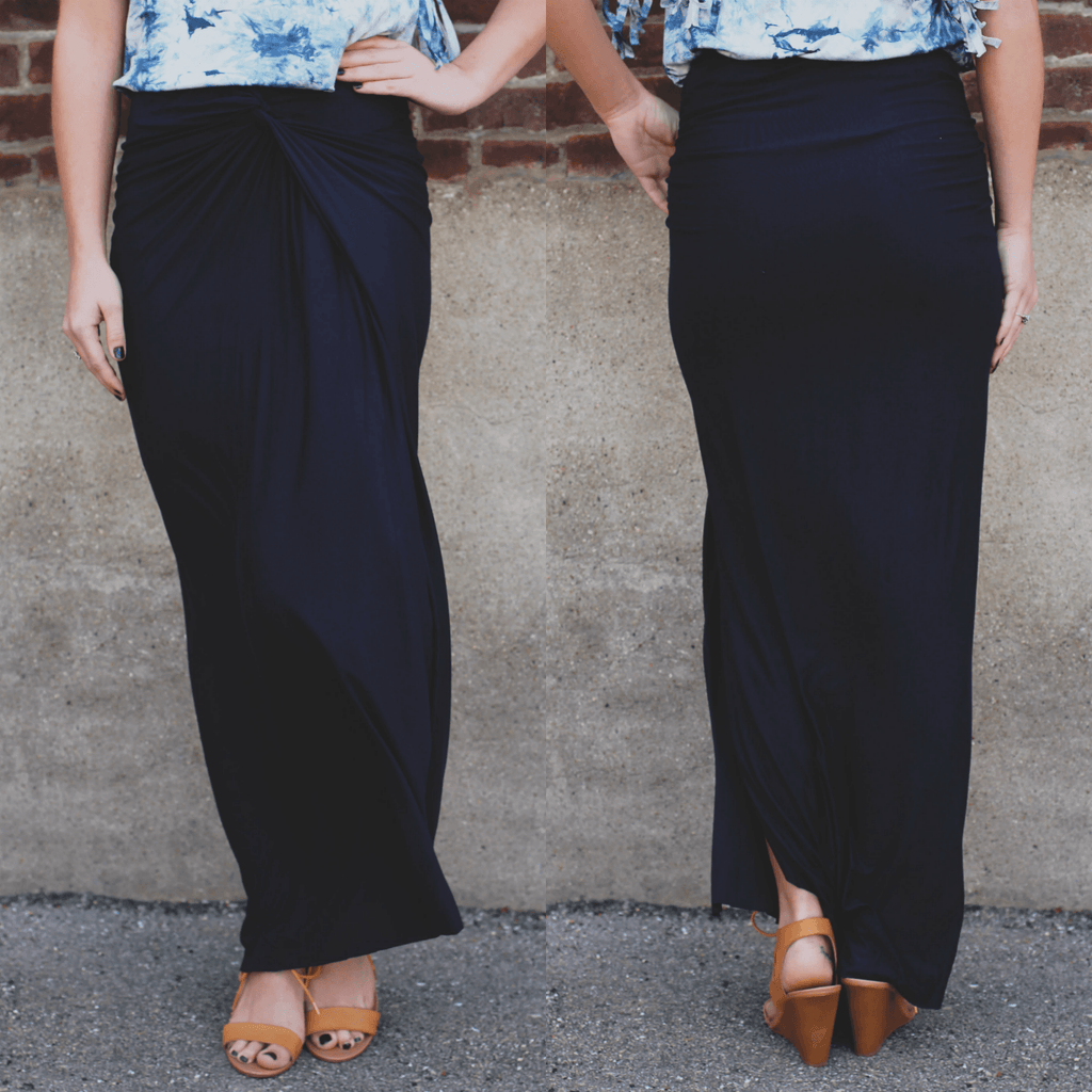 Navy Asymmetrical Hem Faux Wrap Maxi Skirt