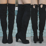 Faux Suede Round Toe Tie Over the Knee Boots Snivy-H