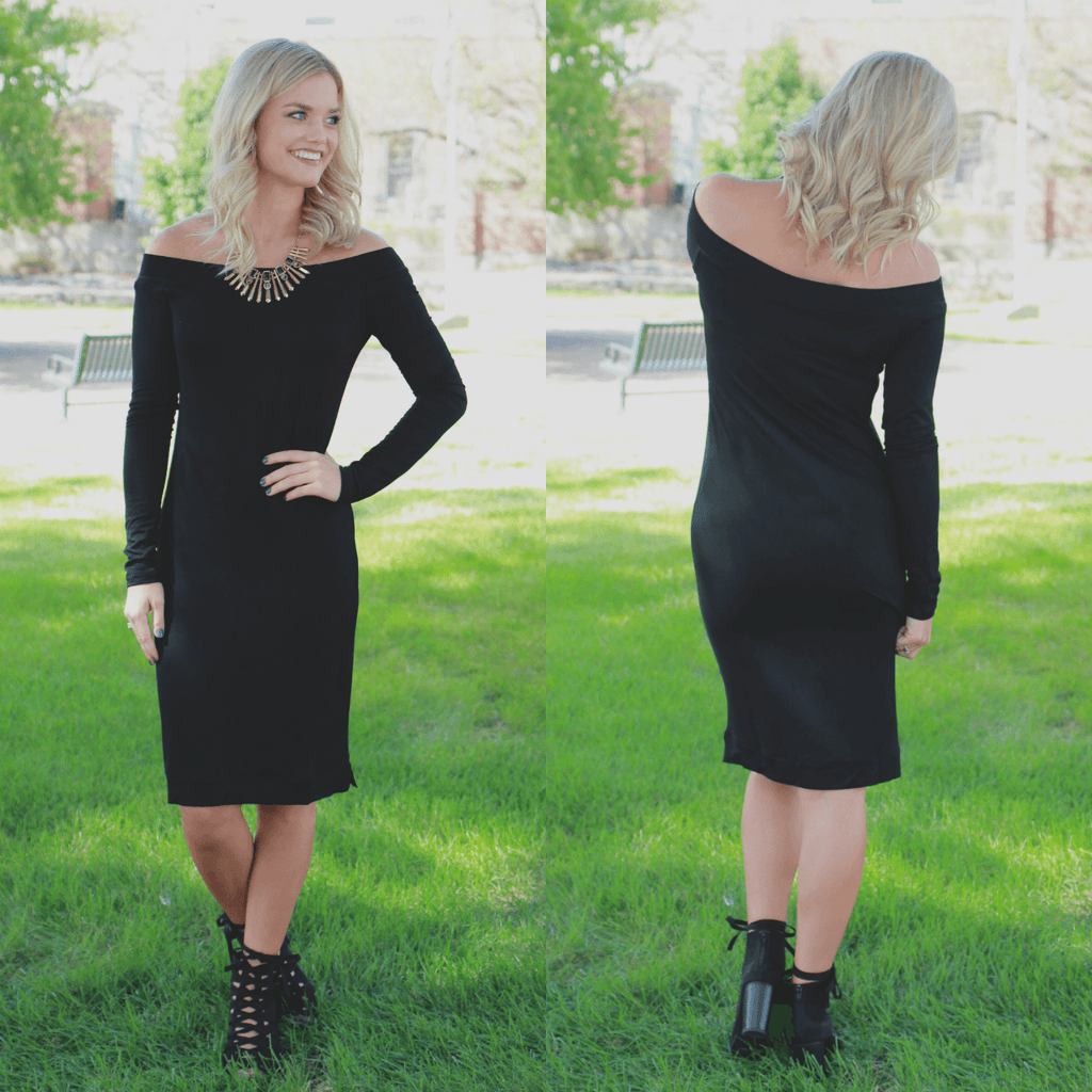 Black Long Sleeve Off the Shoulder Bodycon Dress