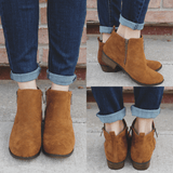 Whiskey Faux Suede Almond Toe Booties Austin-12