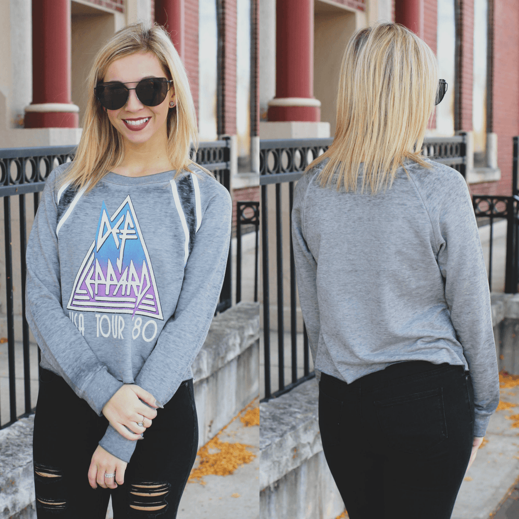 Def Leppard Long Sleeve Crop Top Sweatshirt