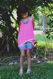 Kids Neon Pink Sheer Chiffon Crochet Hem Top