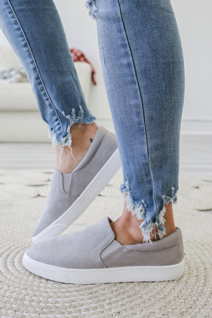 Reign Faux Suede Slip-On Sneakers - Online Clothing Boutique