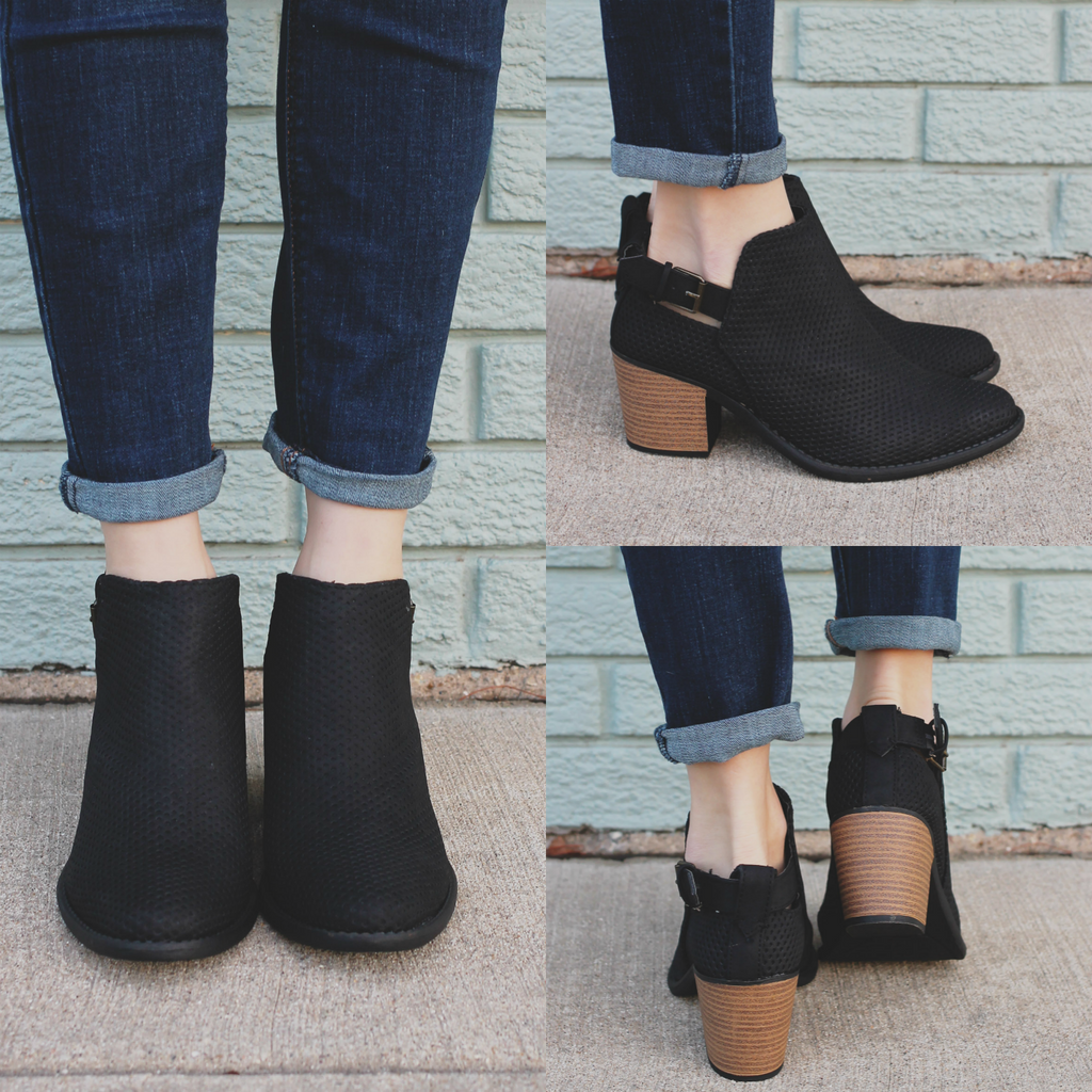 Black Faux Suede Almond Toe Ankle Booties Tobin-45