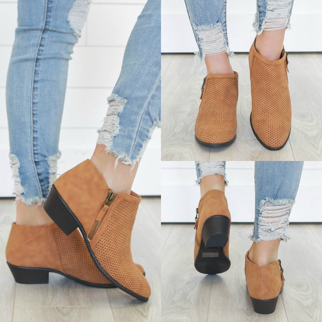 Weekend-10 Faux Leather Ankle Booties - Online Clothing Boutique