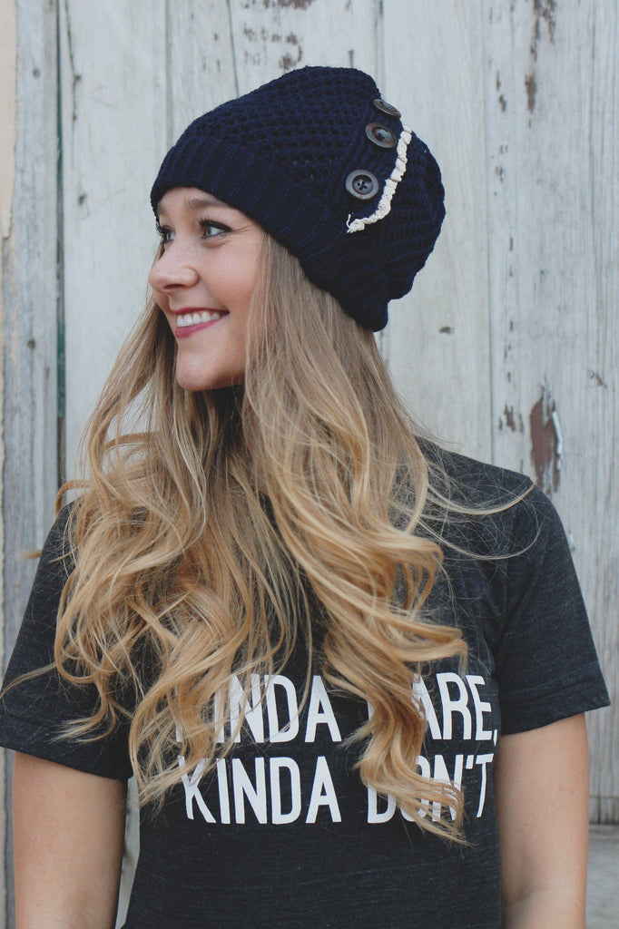 Navy Crochet Lace Detail Button Detail Beanie