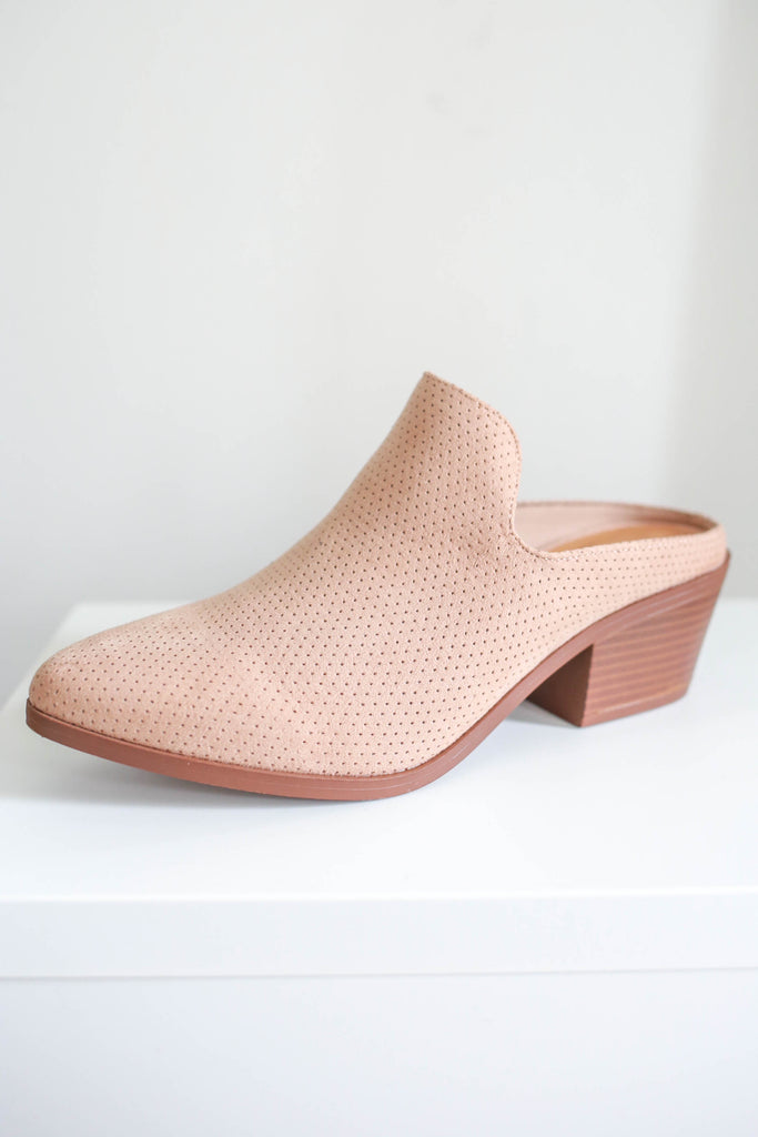 Faux Suede Mules - Online Clothing Boutique