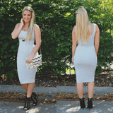 Heather Grey Round Neck Sleeveless Bodycon Midi Dress