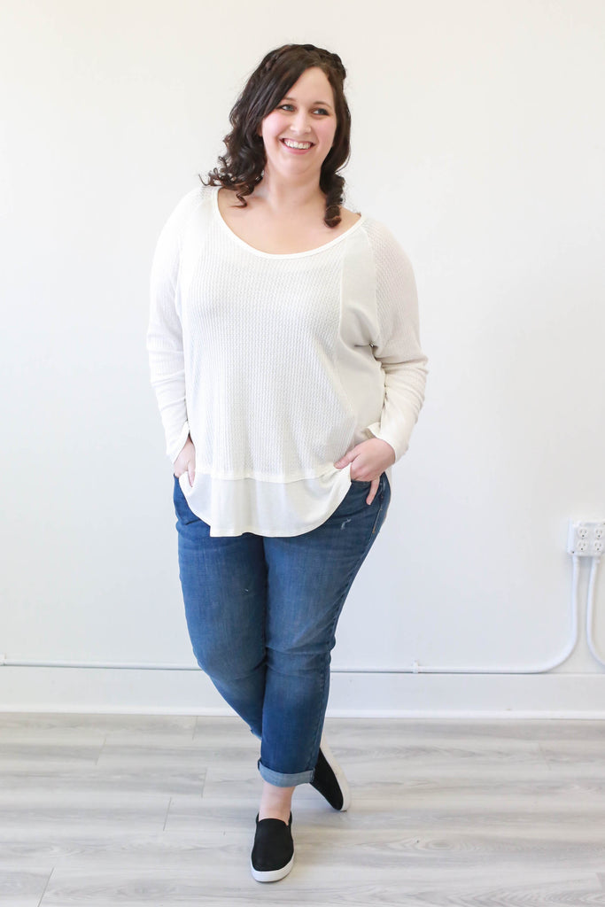 Plus Size Waffle Knit Top - Online Clothing Boutique