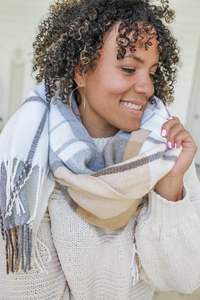 Neutral Plaid Scarf - Online Clothing Boutique