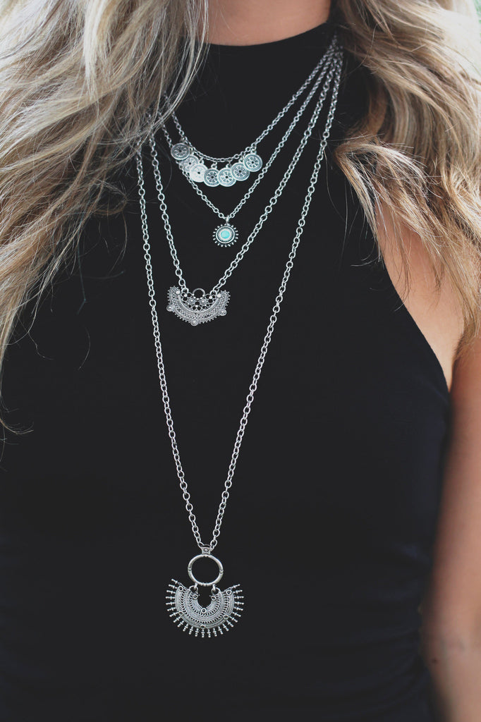 Drop Pendant Layered Statement Necklace