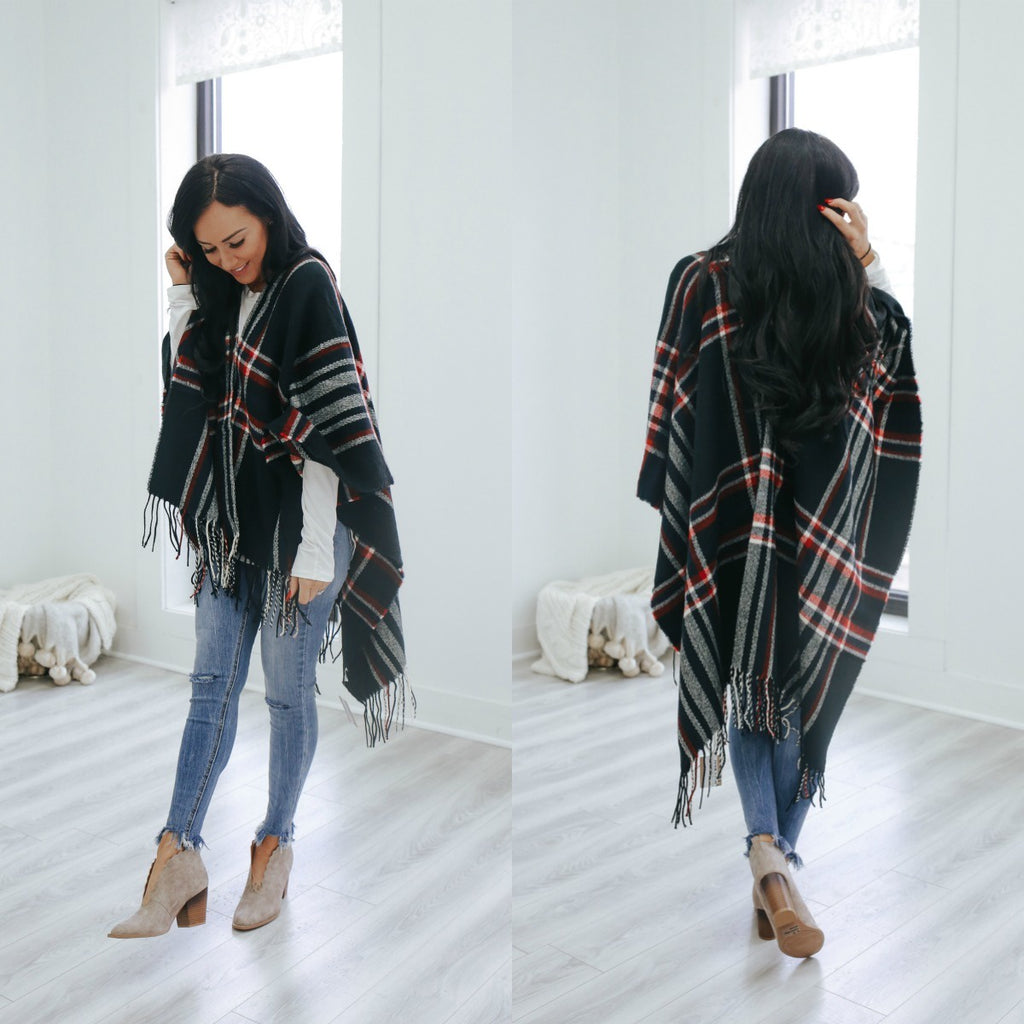 Plaid Ruana - Online Clothing Boutique