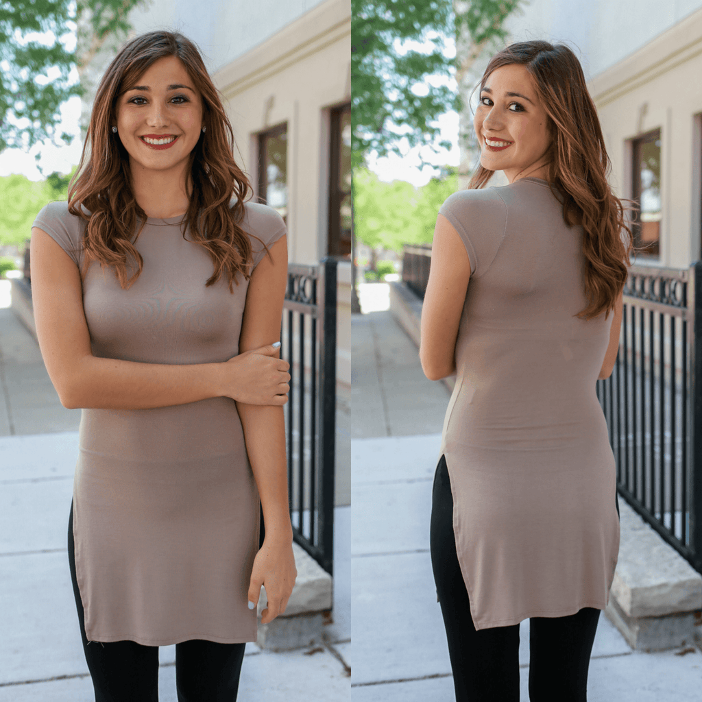 Mocha Cap Sleeve Round Neck High Side Slits Tunic