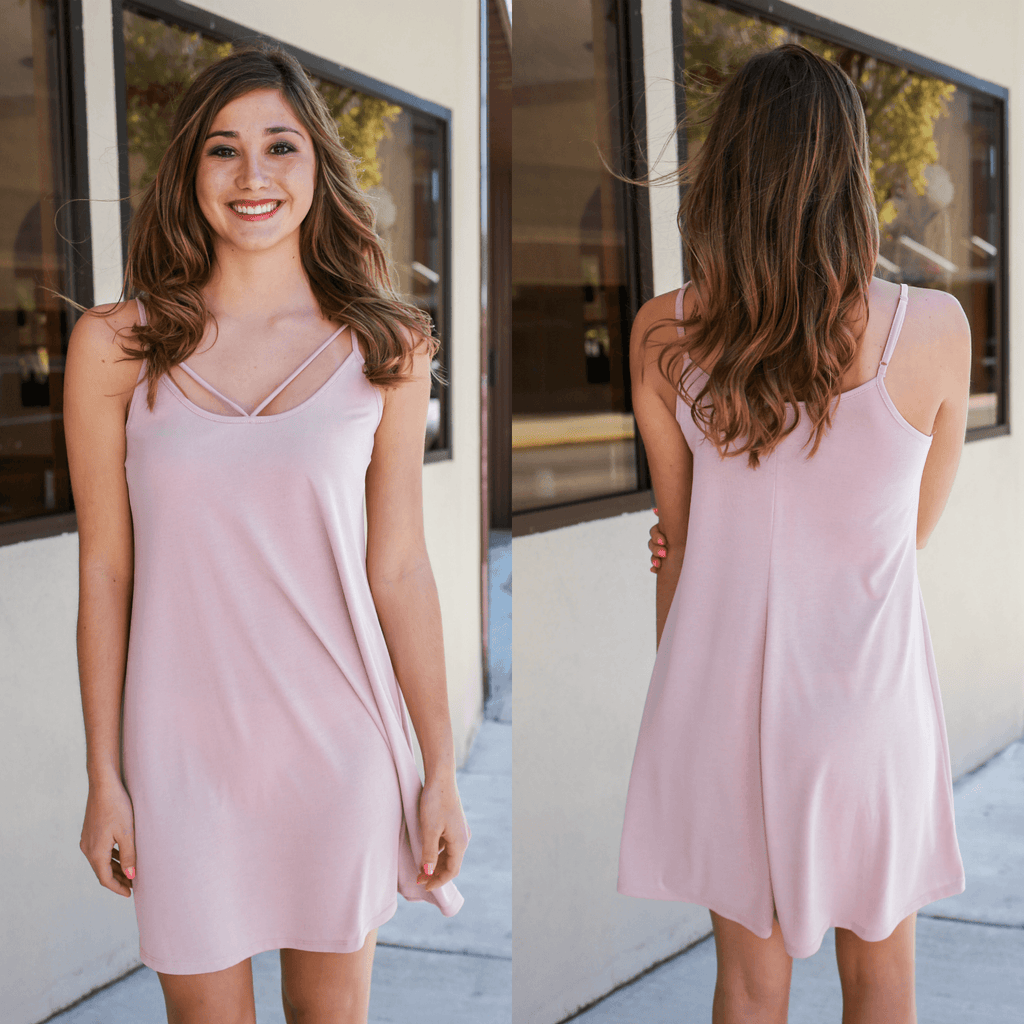 Blush Strappy Front Cami Strap Trapeze Dress